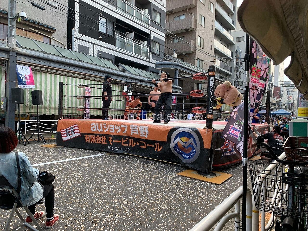 江東区高橋商店街 のら天市場 春のイベント プロレス 写真